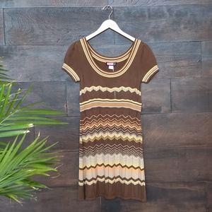 Vintage 70s Style Zigzag Knit Dress